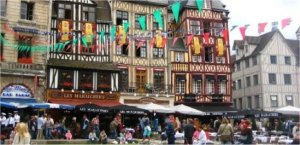Medieval street in Rouen, France